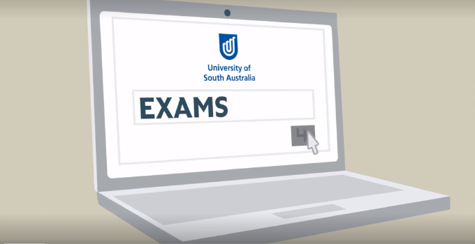 Illustrated graphic of laptop with 'Exams' search screen.